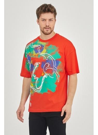 XHAN Kırmızı Sulu Boya Baskılı Salaş T-Shirt 1Kxe1-44627-04 Kırmızı